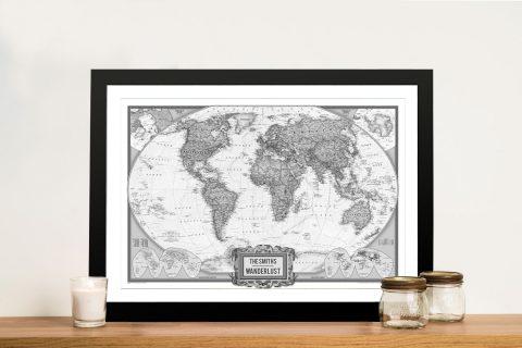 Wanderlust Black And White Custom Map Art