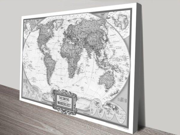 Buy Black & White Wanderlust Push Pin Map Framed Wall Art Melbourne