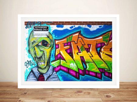Artistic Bricks Framed Canvas Graffiti Artwork