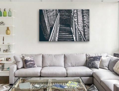 Black & White Stretched Canvas Street Art Print