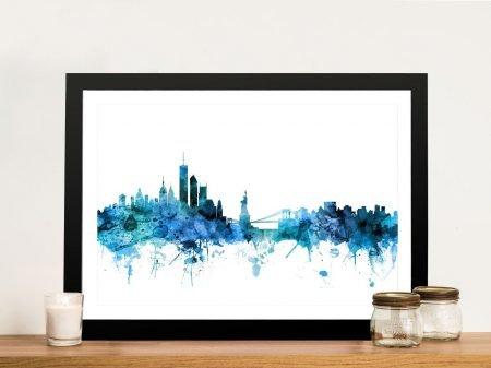 Buy New York Skyline In Blue Canvas Art