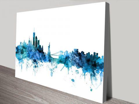Buy New York Skyline In Blue Cheap Wall Art AU