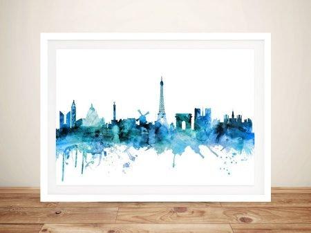 Buy Paris Skyline Framed Wall Art in Blue