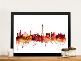 Paris Autumnal Watercolour Skyline Print