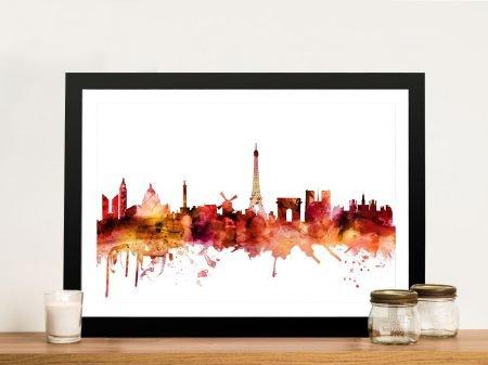 Paris Autumnal Watercolour Skyline Print