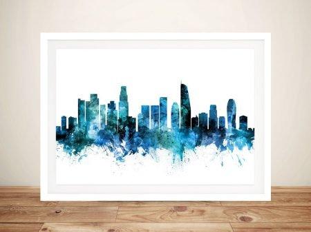 Buy Los Angeles Framed Skyline Wall Art in Blue