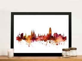 Barcelona Skyline Print by Michael Tompsett