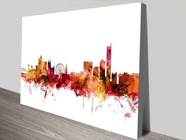 Buy Manchester Skyline Art in Autumnal Tones
