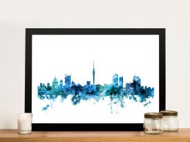 Buy A Framed Print of Auckland Skyline in Blue