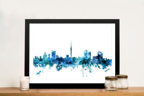 Buy A Framed Print of Auckland Skyline in Blue