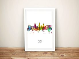 Perth Multicolour Skyline Framed Art
