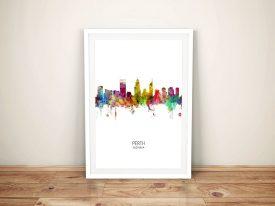 Perth Multicolour Skyline Framed Art