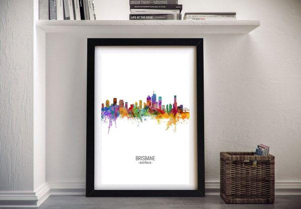 Buy Brisbane Skyline Colourful Framed Print