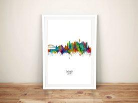 Buy Sydney Skyline Multicolour Framed Art