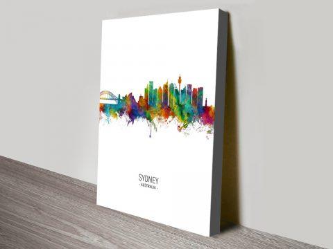 Buy Sydney Skyline Watercolour Canvas Art