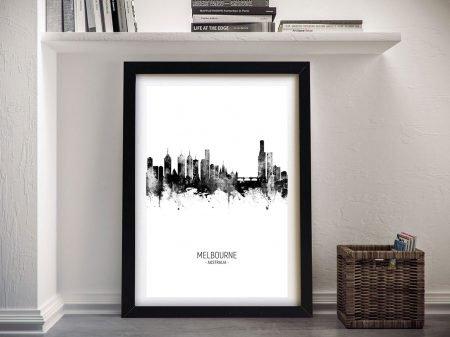 Melbourne Skyline Artwork in Black & White