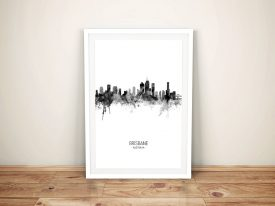 Brisbane Black & White Skyline Framed Print