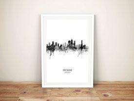 Brisbane Black & White Skyline Framed Print