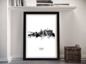 Sydney Skyline Framed Print in Black and White