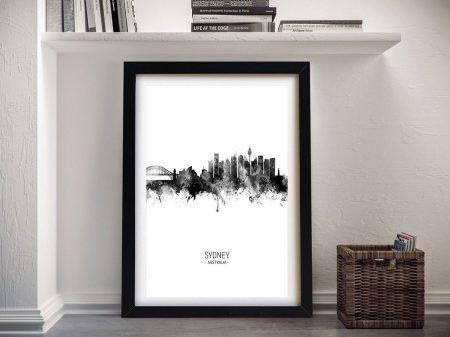 Sydney Skyline Framed Print in Black and White