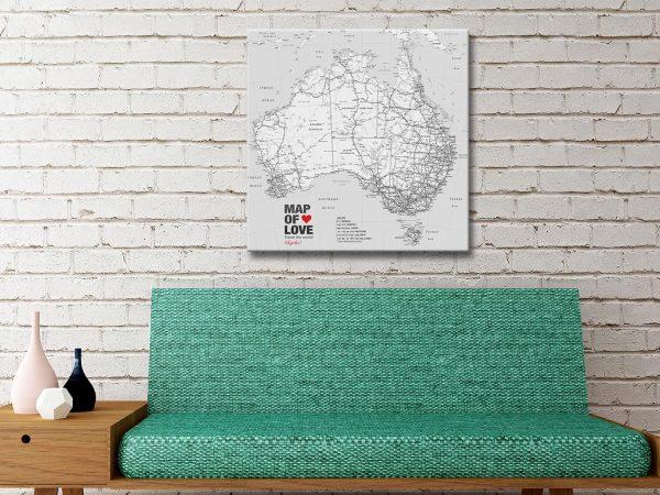 Personalised Australia Black and White Map Canvas Artwork