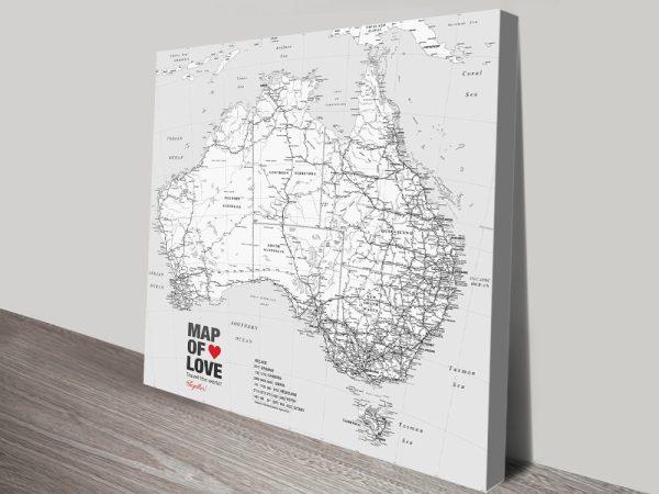 Australia Map Black and White canvas print