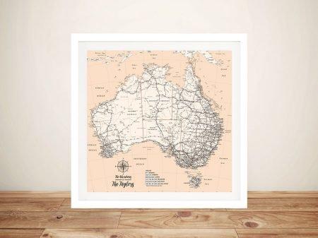 Personalised Australia Peach Push Pin Travel Map Framed Wall Art