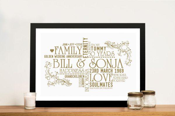Create your Own Personalised Golden Wedding Anniversary Art Australia
