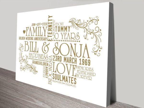 Personalised Golden Wedding Anniversary Canvas Art