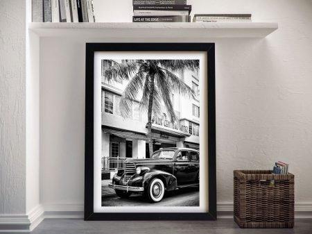 Miami Art Deco District Black & White Wall Art