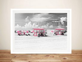 Buy Pink Beach Houses Framed Wall Art
