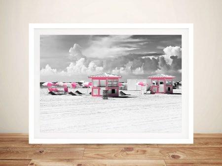 Buy Pink Beach Houses Framed Wall Art