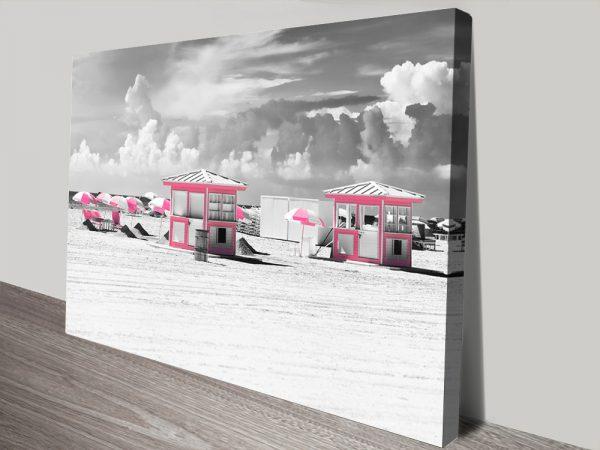 Buy Pink Beach Houses Wall Art by Hugonnard