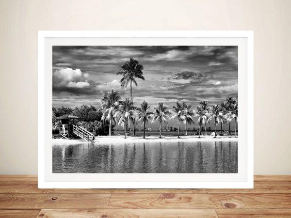 Beach Overlooking Downtown Miami Artwork