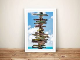 Destination Signs Key West Framed Canvas Art