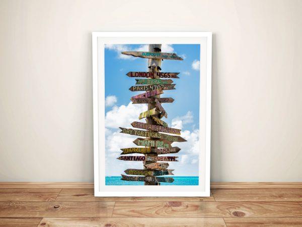 Destination Signs Key West Framed Canvas Art