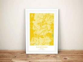 Blue Mountains Yellow Framed Wall Art