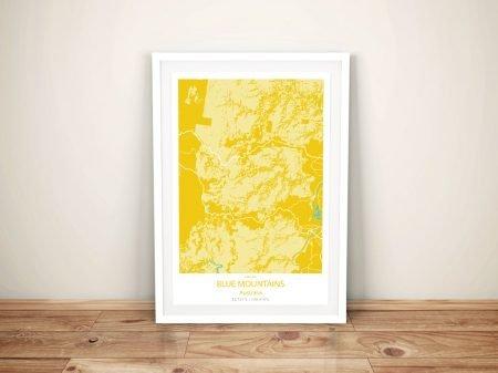 Blue Mountains Yellow Framed Wall Art