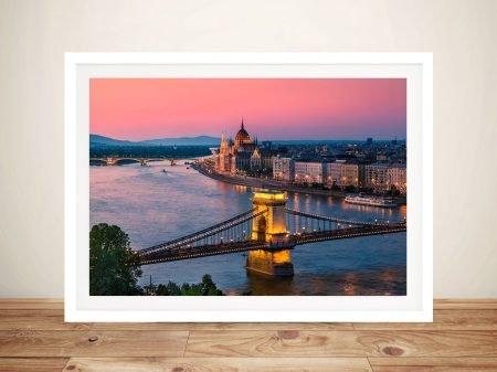 Buy Budapest Sunset Gorgeous Framed Art