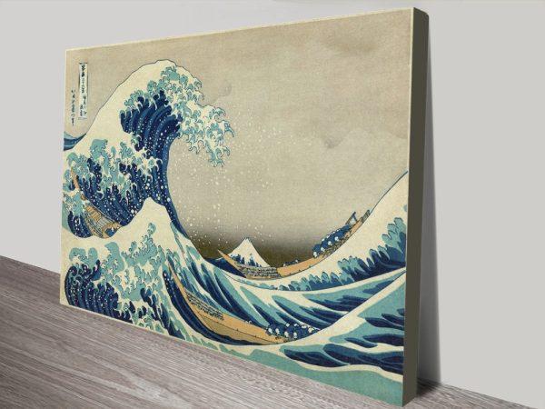 Under the Great Wave of Kanagawa Canvas Print Art by Hokusai