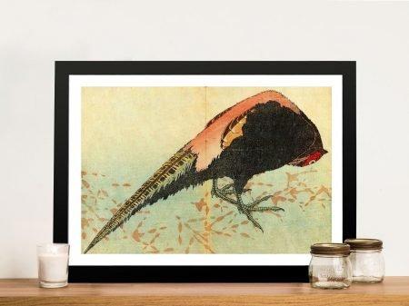 Pheasant on the Snow Hokusai Framed Print