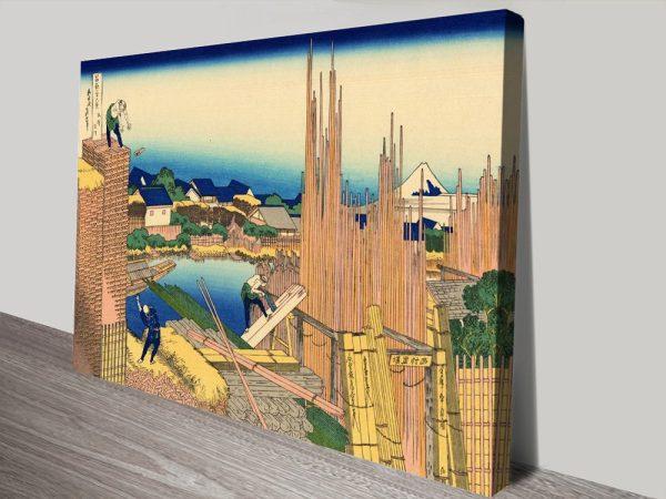 The Timberyard at Honjo Cheap Hokusai Wall Art
