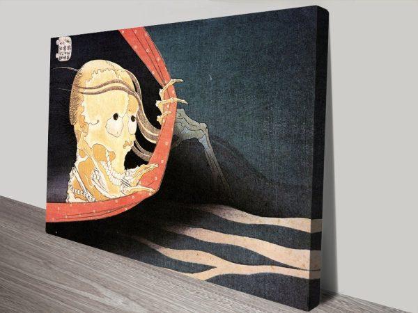 Buy Hokusai Weird Skeleton Abstract Wall Art