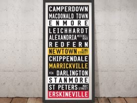 Sydney suburbs tram scroll Framed Wall Art