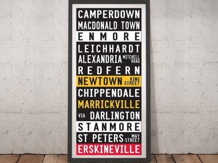 Sydney suburbs tram scroll Framed Wall Art