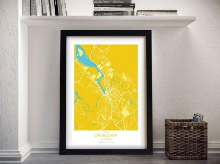 Launceston City Street Map Framed Art Pictures