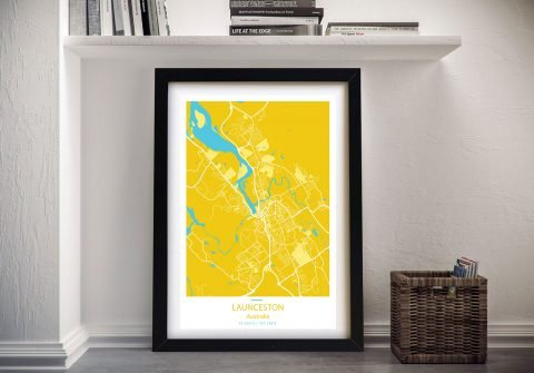 Launceston City Street Map Framed Art Pictures