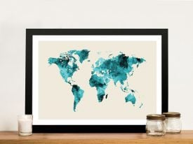 Framed Emerald Green Map of the World