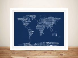 Buy a Framed Musical Map of the World Print