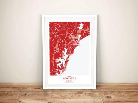 Newcastle Street Map Red Framed Wall Art
